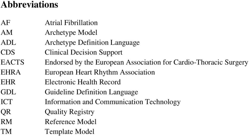 Cardio-Thoracic Surgery European Heart Rhythm Association Electronic Health Record Guideline