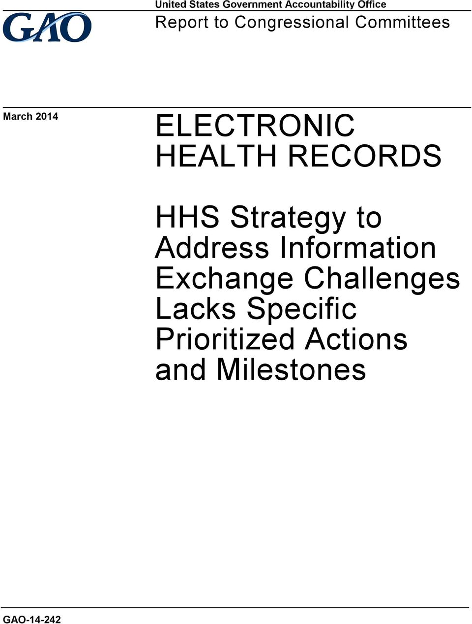 RECORDS HHS Strategy to Address Information Exchange
