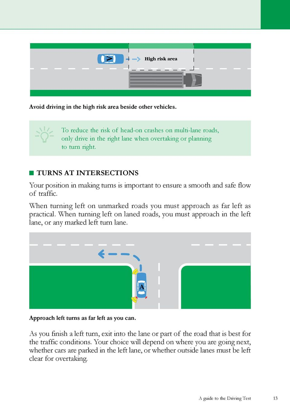 When turning left on laned roads, you must approach in the left lane, or any marked left turn lane. pproach left turns as far left as you can.