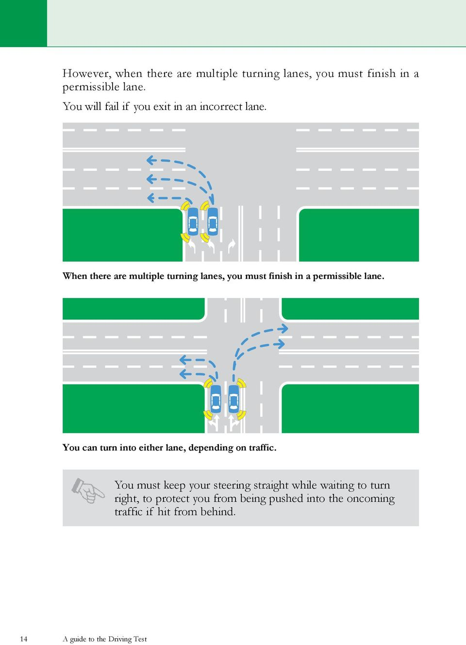 When there are multiple turning lanes, you must finish in a permissible lane.