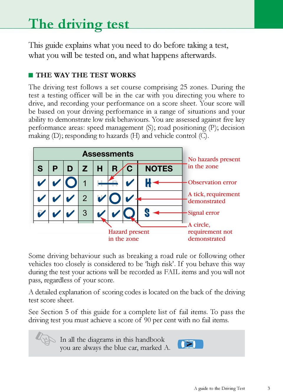 During the test a testing officer will be in the car with you directing you where to drive, and recording your performance on a score sheet.