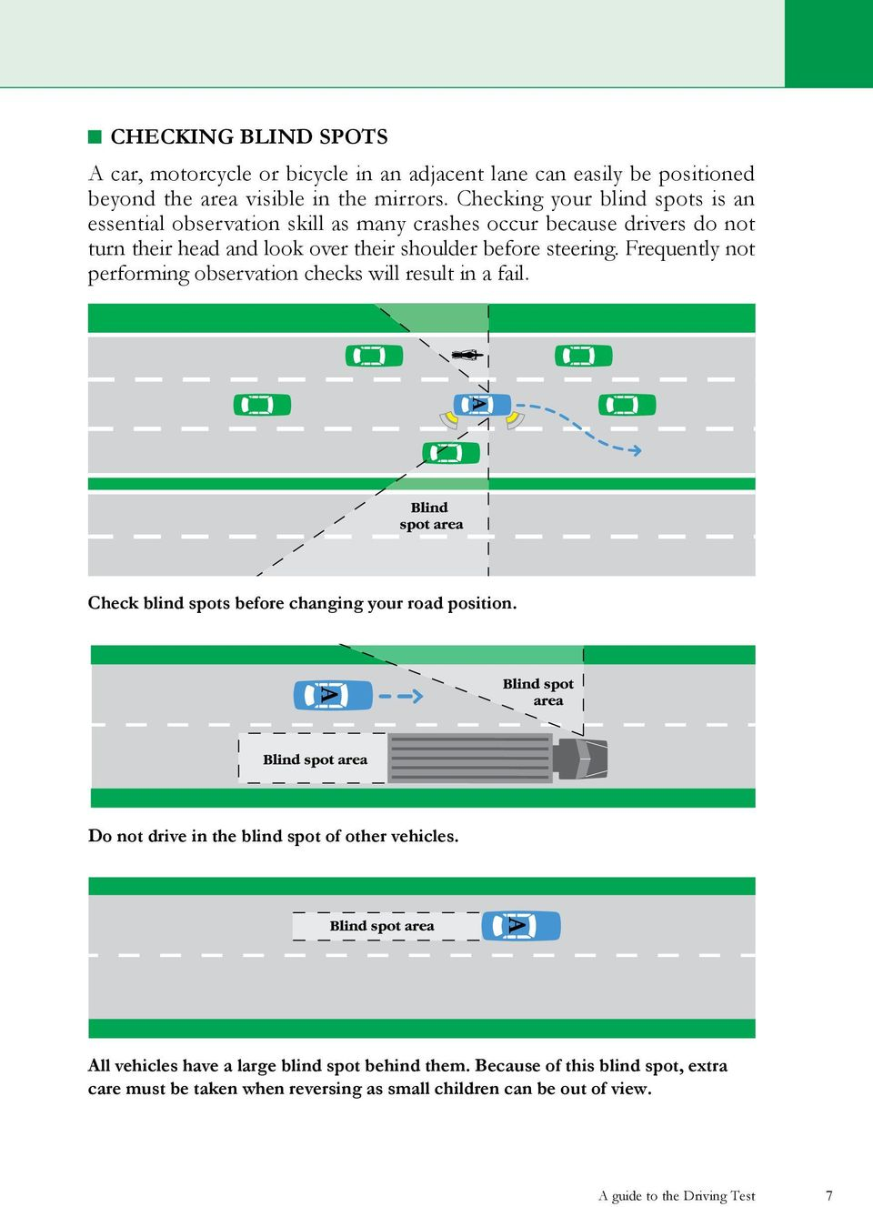 steering. Frequently not performing observation checks will result in a fail. Check blind spots before changing your road position.