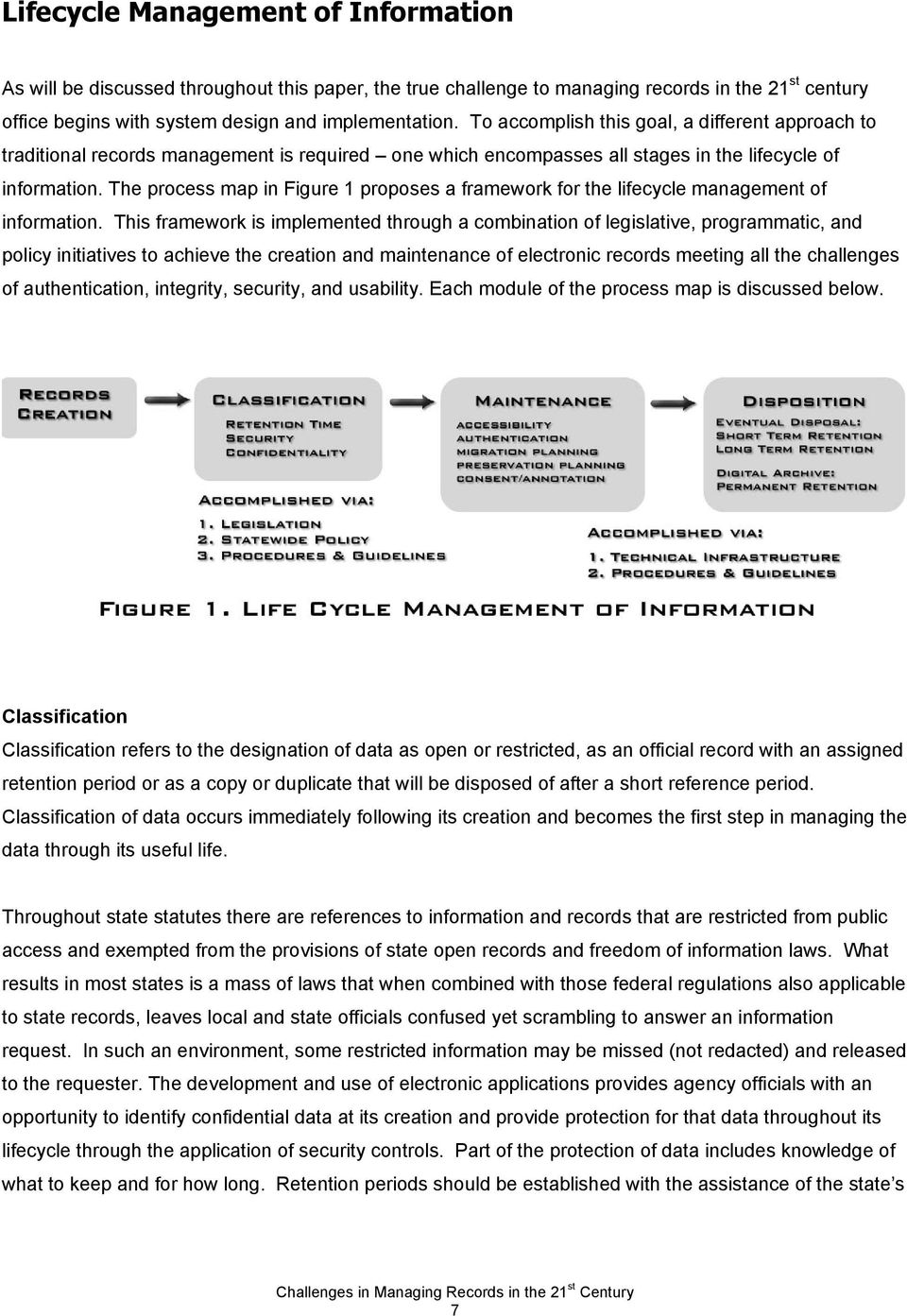 The process map in Figure 1 proposes a framework for the lifecycle management of information.