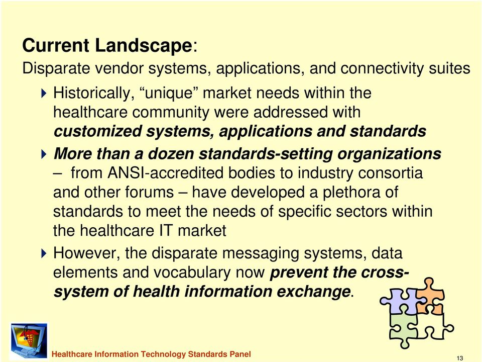 consortia and other forums have developed a plethora of standards to meet the needs of specific sectors within the healthcare IT market However, the