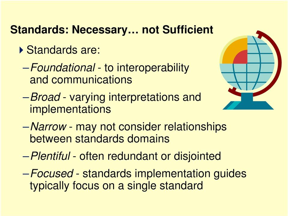 not consider relationships between standards domains Plentiful - often redundant or