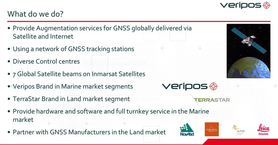 GNSS tracking stations Diverse Control centres 7 Global Satellite beams on Inmarsat Satellites Veripos