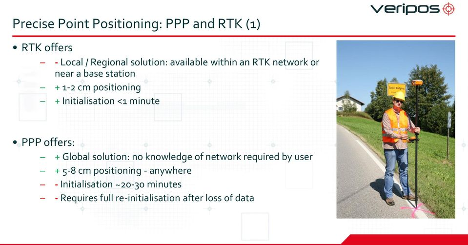 PPP offers: + Global solution: no knowledge of network required by user + 5-8 cm positioning