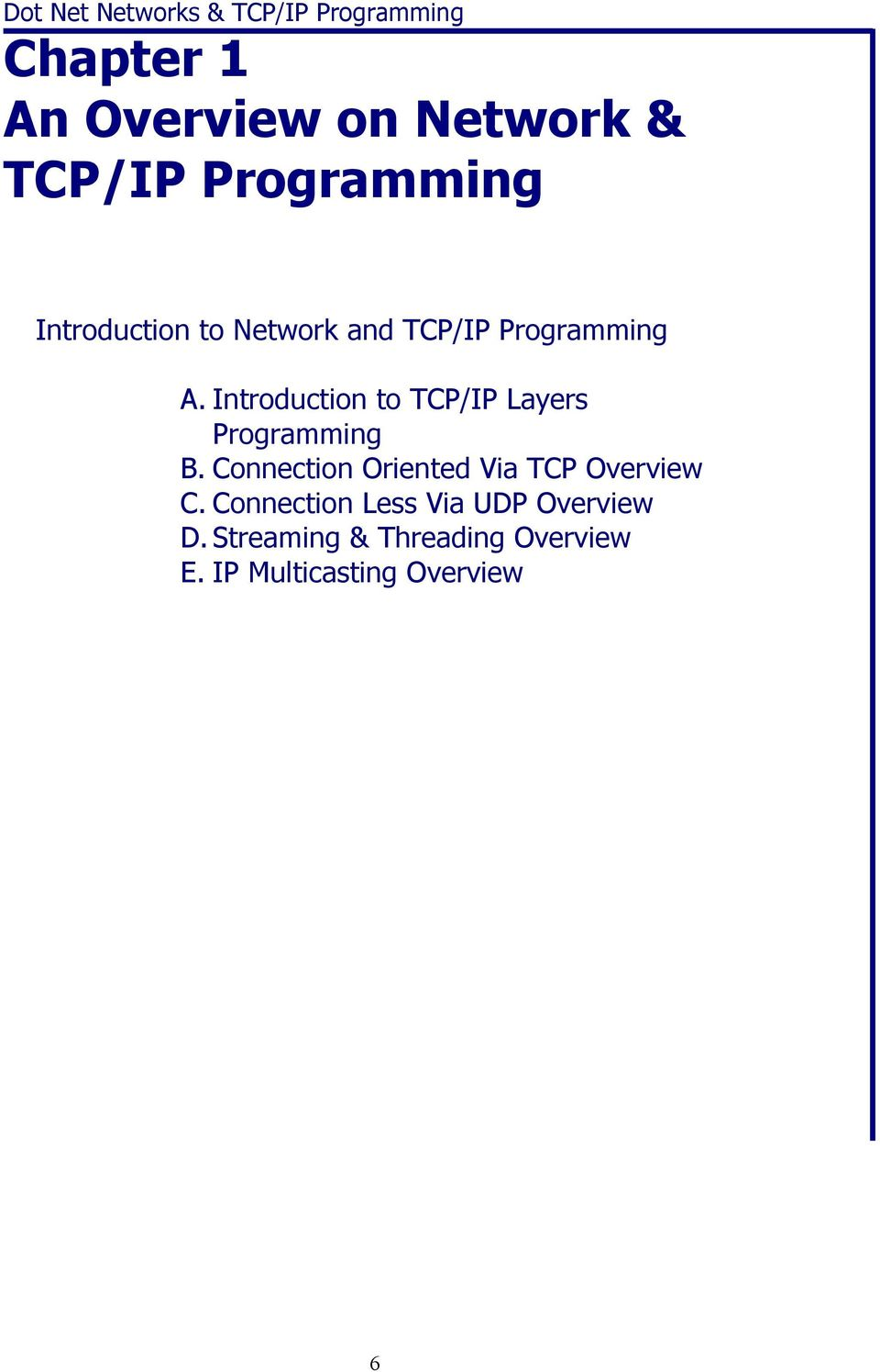 Introduction to TCP/IP Layers Programming B.