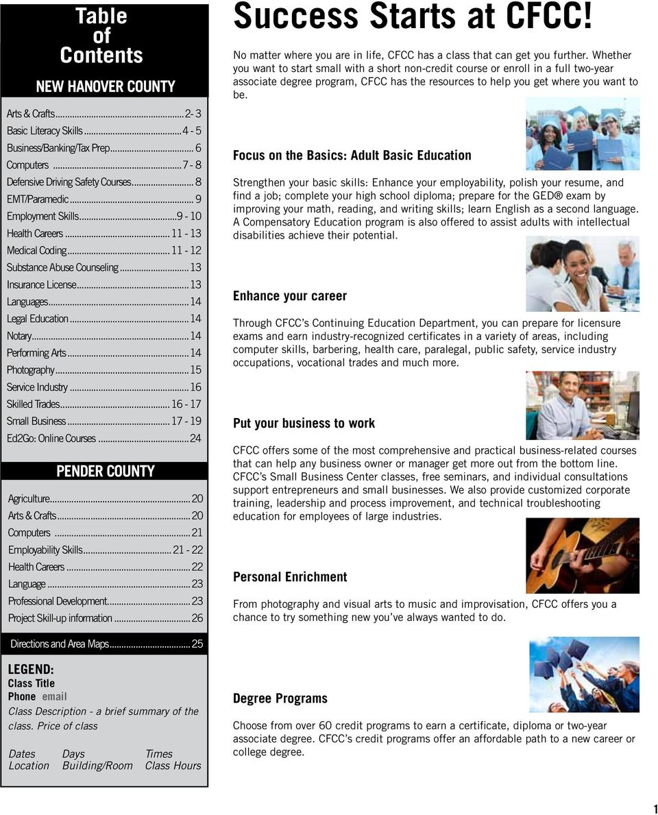 ..14 Photography...15 Service Industry...16 Skilled Trades...16-17 Small Business...17-19 Ed2Go: Online Courses...24 PENDER COUNTY Agriculture...20 Arts & Crafts...20 Computers.