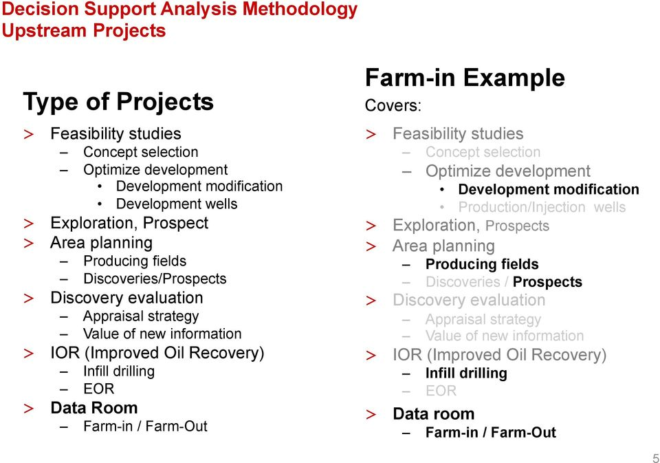 Farm-in / Farm-Out Farm-in Example Covers: > Feasibility studies Concept selection Optimize development Development modification Production/Injection wells > Exploration, Prospects > Area