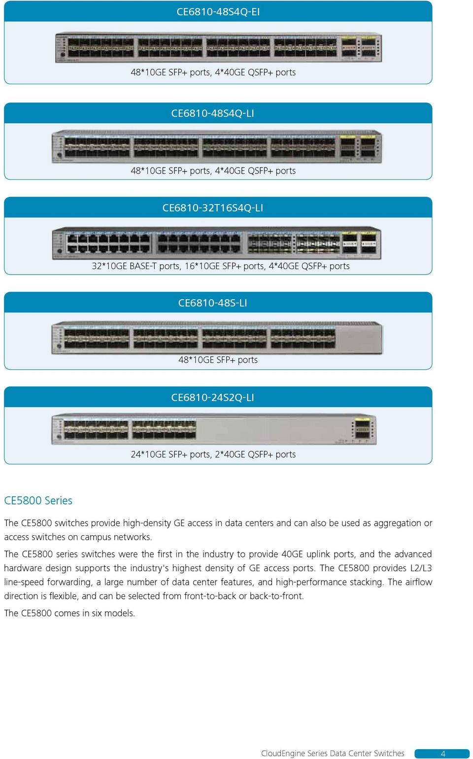 aggregation or access switches on campus networks.