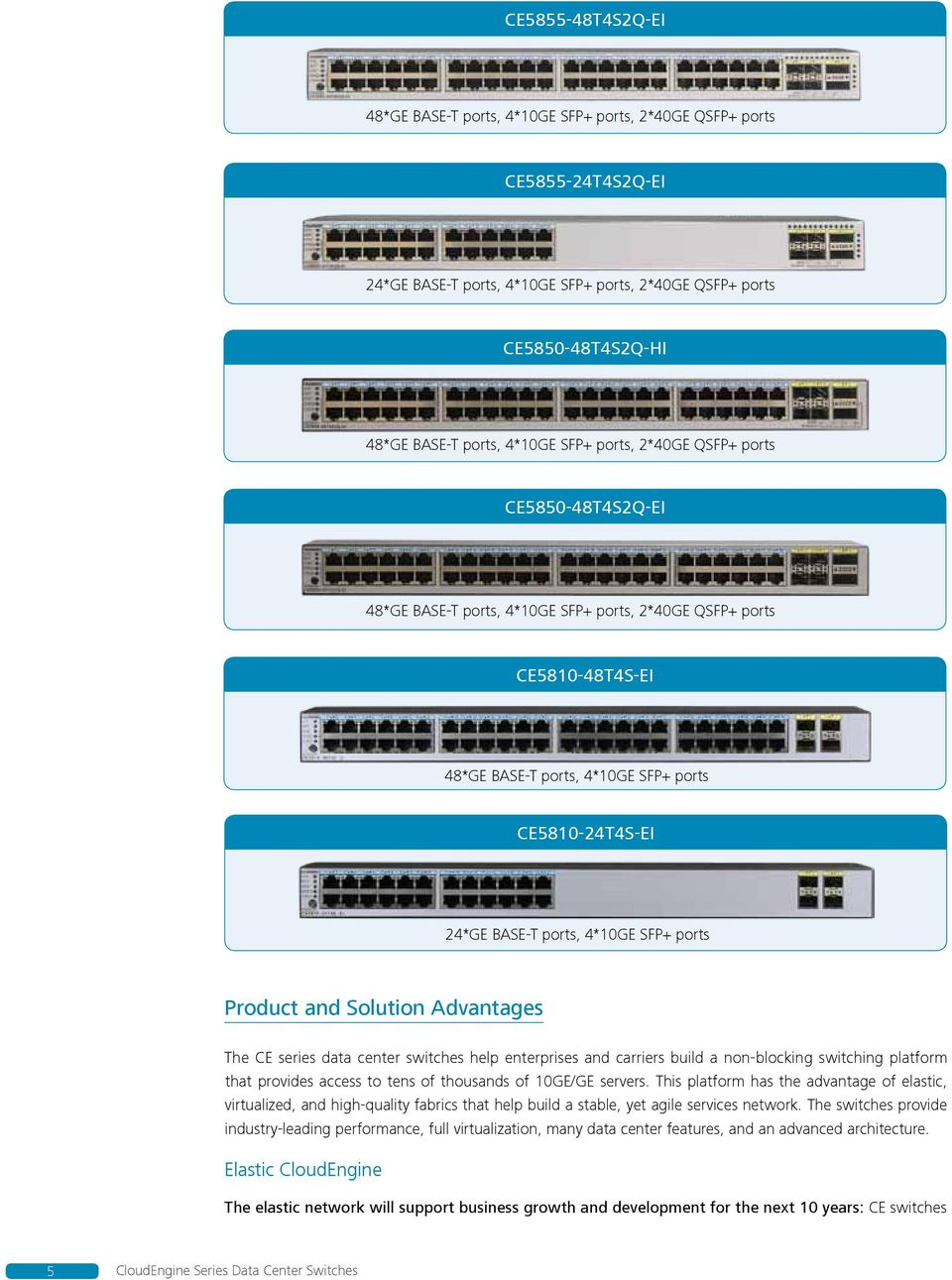 4*10GE SFP+ ports Product and Solution Advantages The CE series data center switches help enterprises and carriers build a non-blocking switching platform that provides access to tens of thousands of