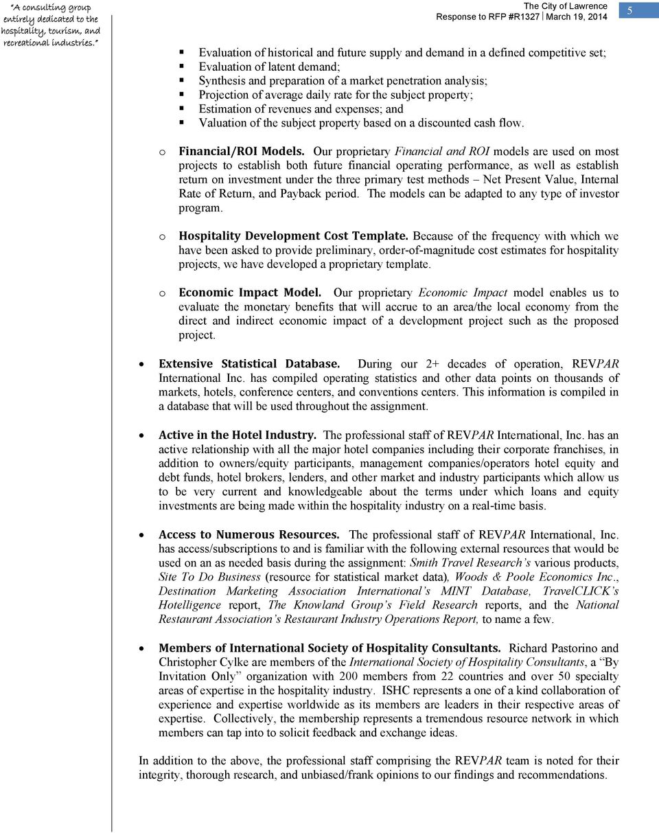 Response To Rfp R1327 Consulting Services To Evaluate The