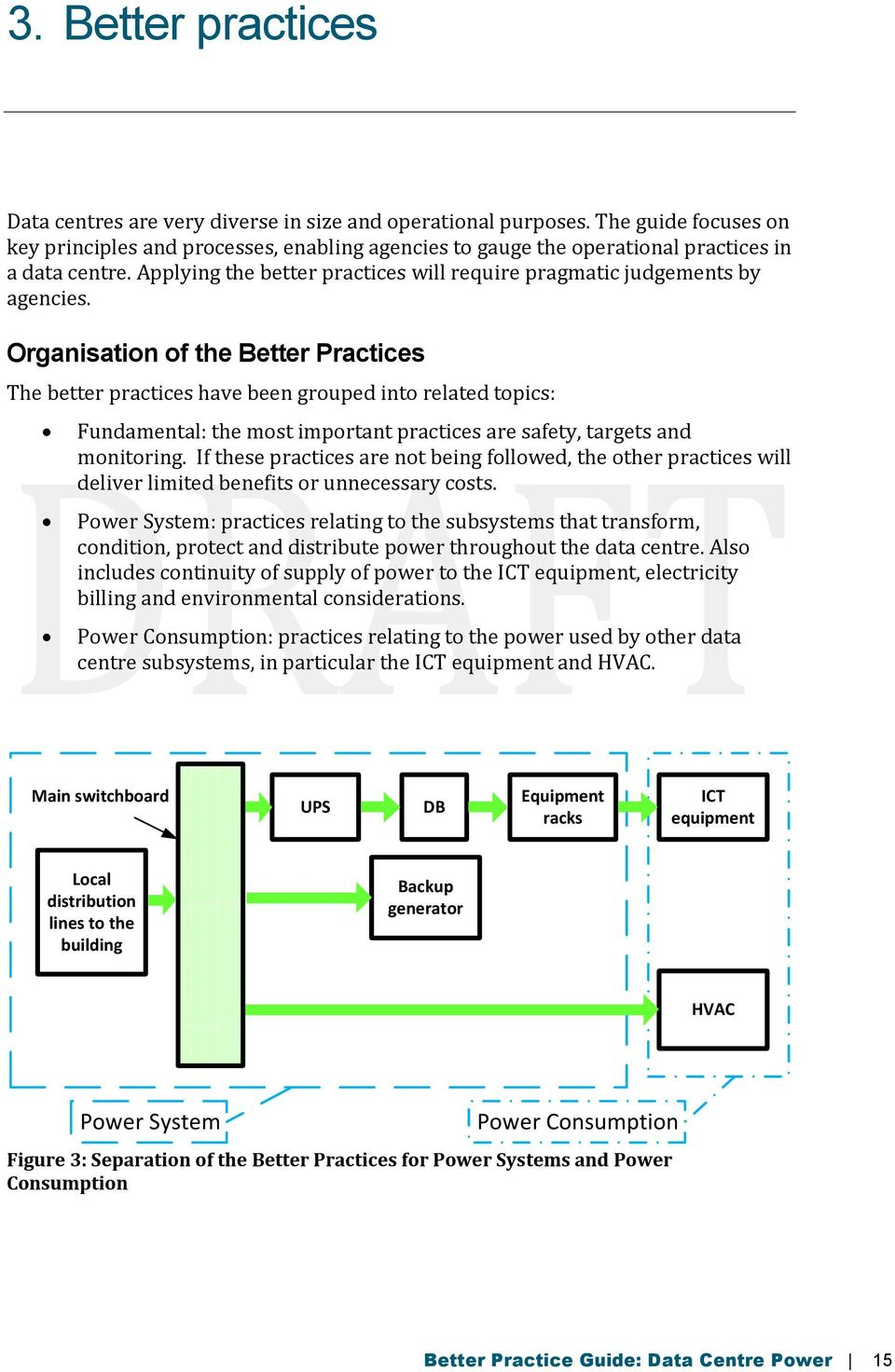 Organisation of the Better Practices The better practices have been grouped into related topics: Fundamental: the most important practices are safety, targets and monitoring.