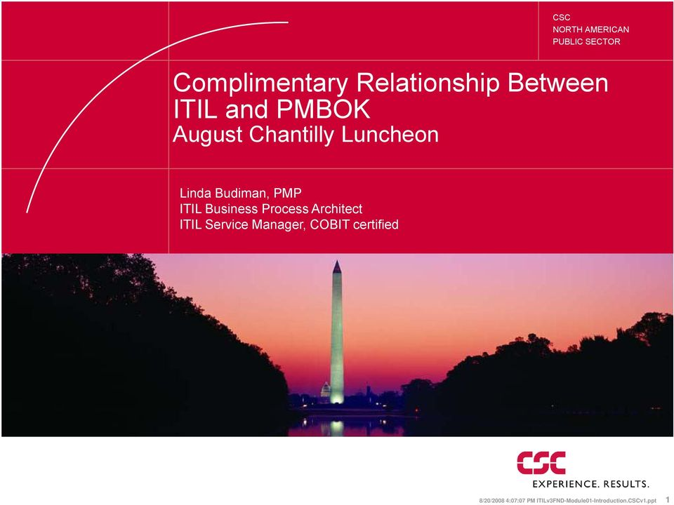 PMP ITIL Business Process Architect ITIL Service Manager, COBIT