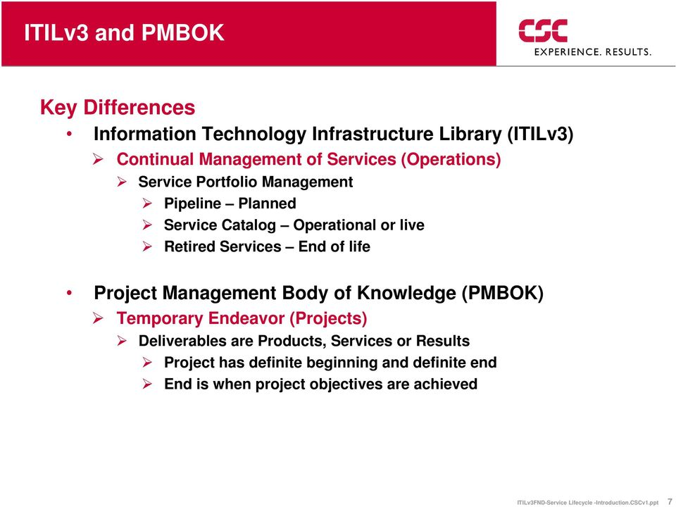 Management Body of Knowledge (PMBOK) Temporary Endeavor (Projects) Deliverables are Products, Services or Results Project