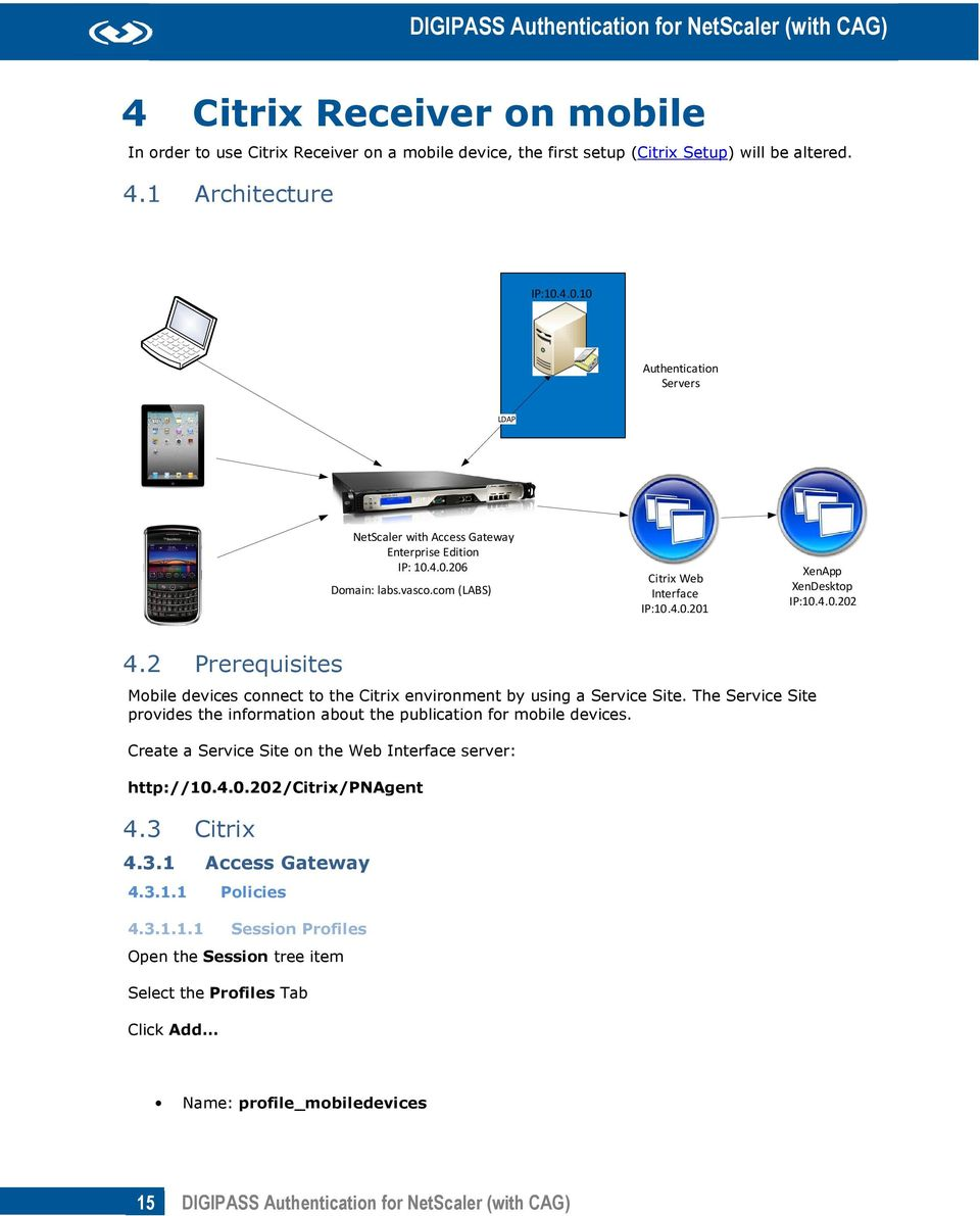 2 Prerequisites Mobile devices connect to the Citrix environment by using a Service Site. The Service Site provides the information about the publication for mobile devices.