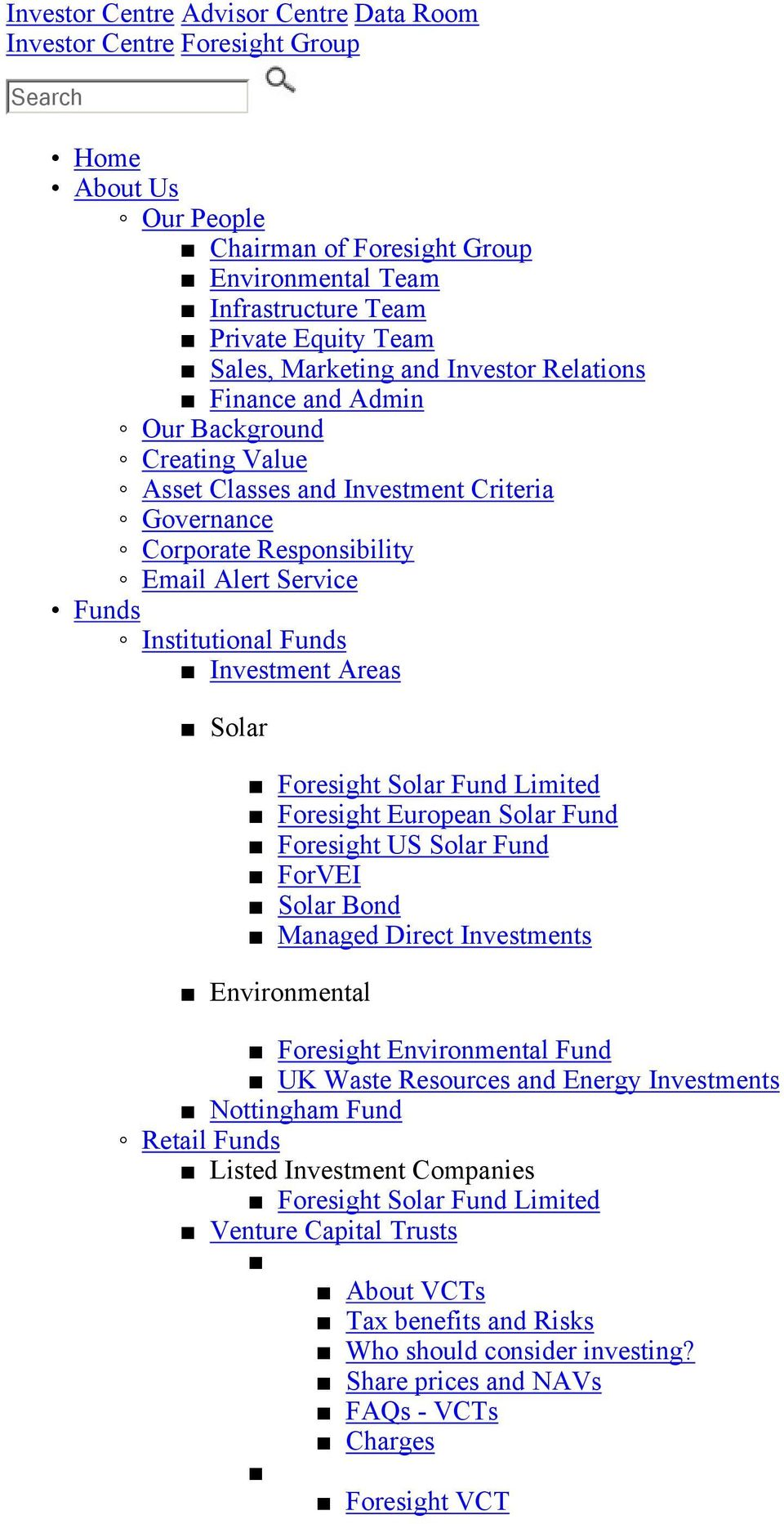 Funds Investment Areas Solar Foresight Solar Fund Limited Foresight European Solar Fund Foresight US Solar Fund ForVEI Solar Bond Managed Direct Investments Environmental Foresight Environmental Fund