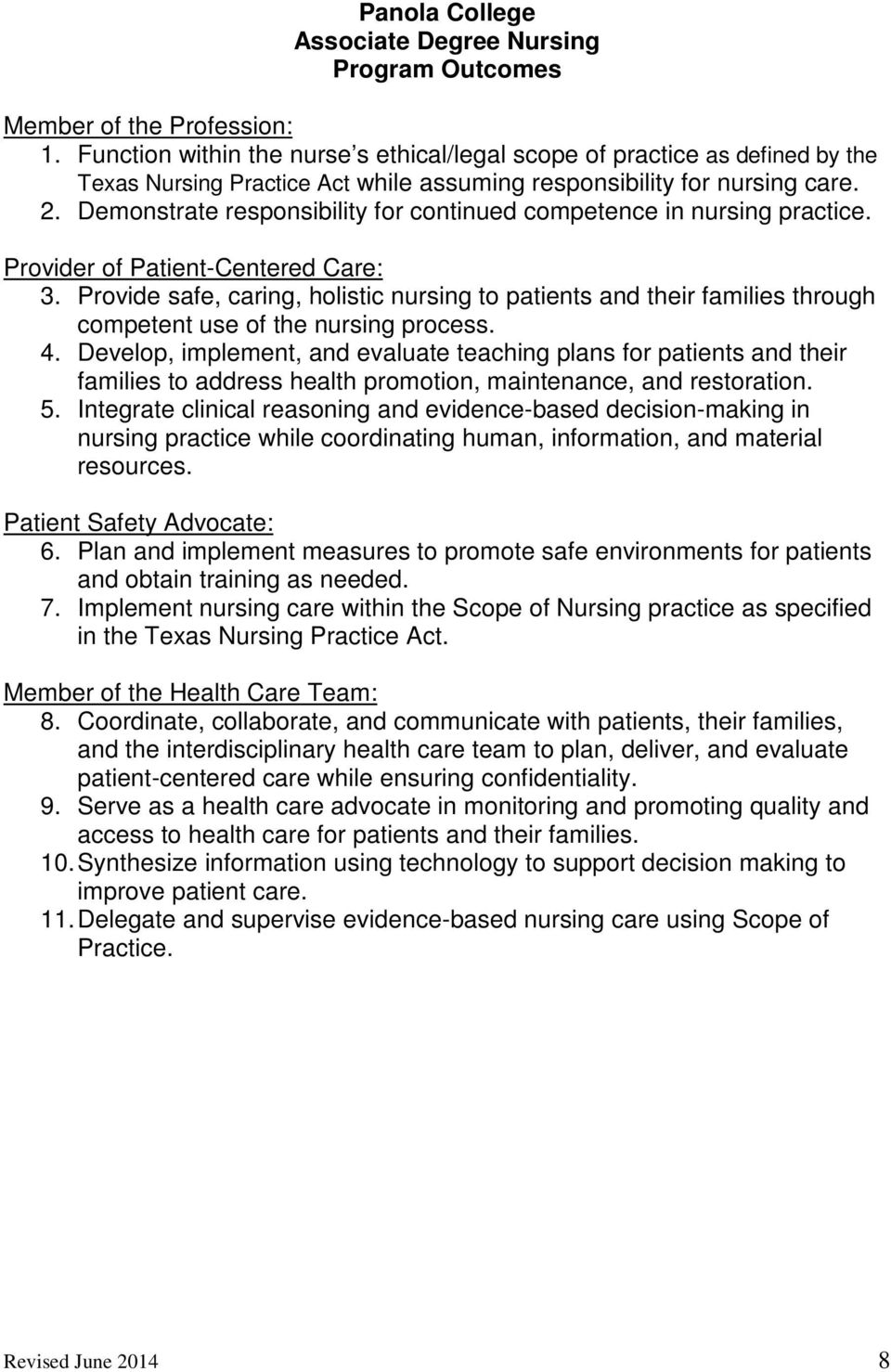 Demonstrate responsibility for continued competence in nursing practice. Provider of Patient-Centered Care: 3.