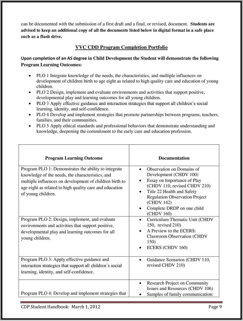 VVC CDD Program Completion Portfolio Upon completion of an AS degree in Child Development the Student will demonstrate the following Program Learning Outcomes: PLO 1 Integrate knowledge of the needs,