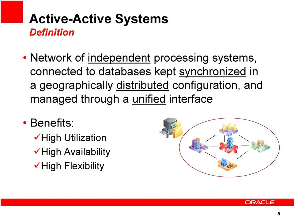 Deploying active active data centers using oracle database for Distributed configuration