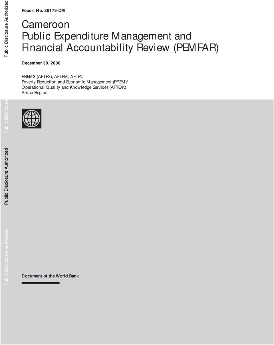 Accountability Review (PEMFAR) December 30, 2006 PREM3 (AFTP3), AFTFM, AFTPC Poverty Reduction and