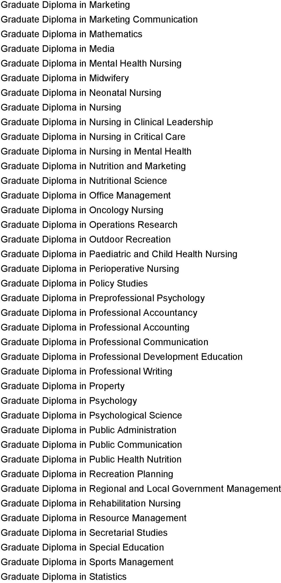 in Mental Health Graduate Diploma in Nutrition and Marketing Graduate Diploma in Nutritional Science Graduate Diploma in Office Management Graduate Diploma in Oncology Nursing Graduate Diploma in