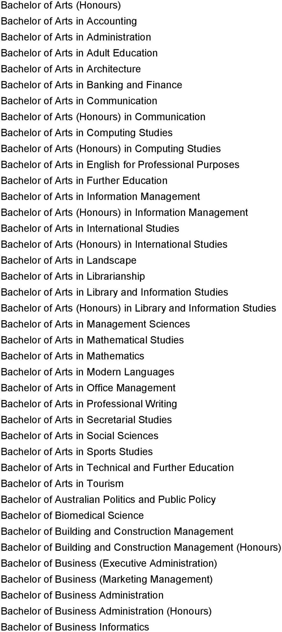 for Professional Purposes Bachelor of Arts in Further Education Bachelor of Arts in Information Management Bachelor of Arts (Honours) in Information Management Bachelor of Arts in International