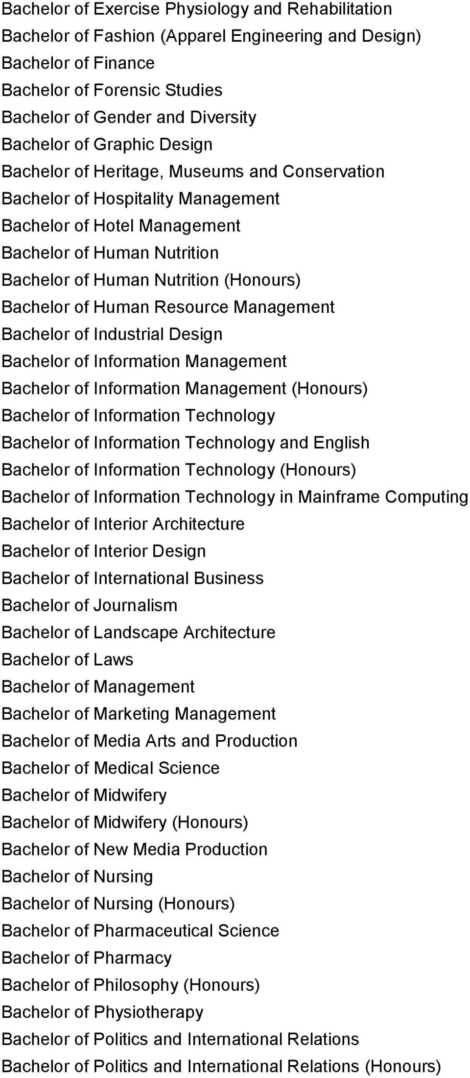 Bachelor of Human Resource Management Bachelor of Industrial Design Bachelor of Information Management Bachelor of Information Management (Honours) Bachelor of Information Technology Bachelor of
