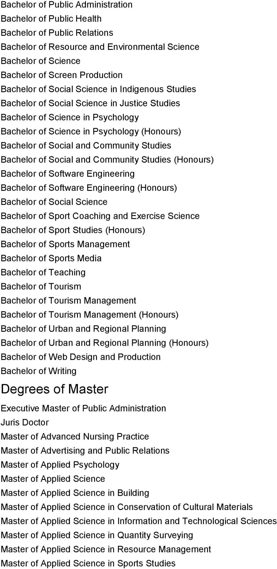 Studies Bachelor of Social and Community Studies (Honours) Bachelor of Software Engineering Bachelor of Software Engineering (Honours) Bachelor of Social Science Bachelor of Sport Coaching and