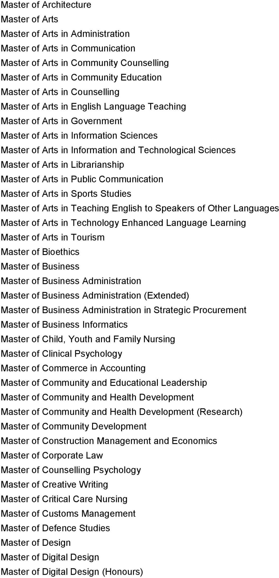 Librarianship Master of Arts in Public Communication Master of Arts in Sports Studies Master of Arts in Teaching English to Speakers of Other Languages Master of Arts in Technology Enhanced Language