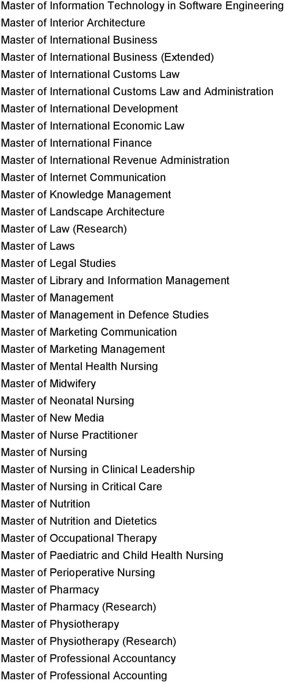 Administration Master of Internet Communication Master of Knowledge Management Master of Landscape Architecture Master of Law (Research) Master of Laws Master of Legal Studies Master of Library and