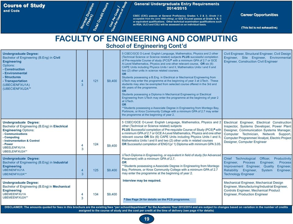 Engineering Cont d 5 CSEC/GCE O-Level: English Language, Mathematics, Physics and 2 other (Technical Science or Science related) subjects PLUS successful completion of Pre-requisite Course of study