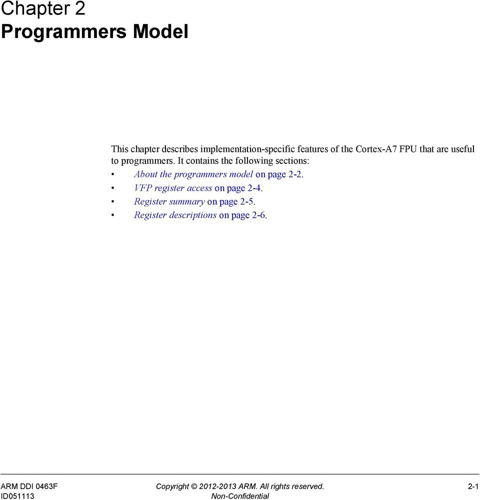 It contains the following sections: About the programmers model on page 2-2.
