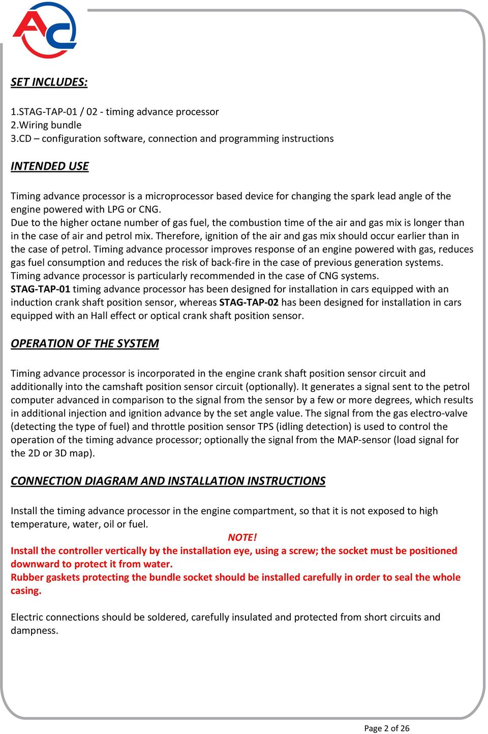 CONNECTION AND PROGRAMMING INSTRUCTIONS - PDF
