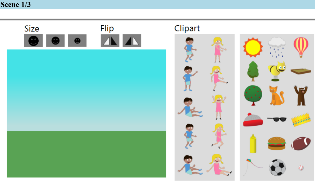 Figure 3. A screenshot of the AMT interface used to create the abstract scenes. directly from visual features [1, 5, 16, 31], and to study the properties of popular tags [1, 31].