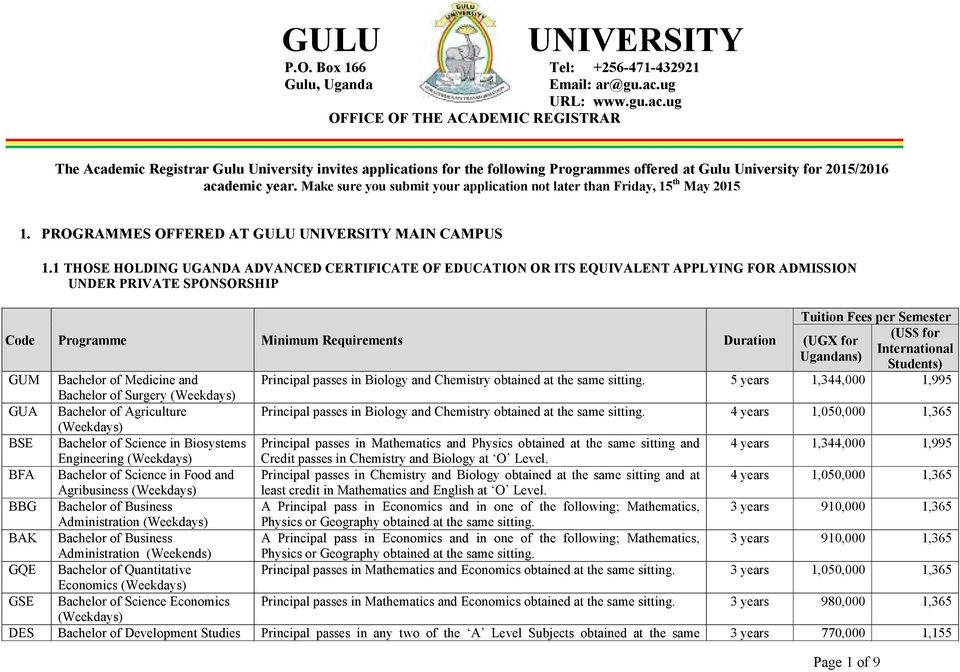 Make sure you submit your application not later than Friday, 15 th May 2015 1. PROGRAMMES OFFERED AT GULU UNIVERSITY MAIN CAMPUS 1.