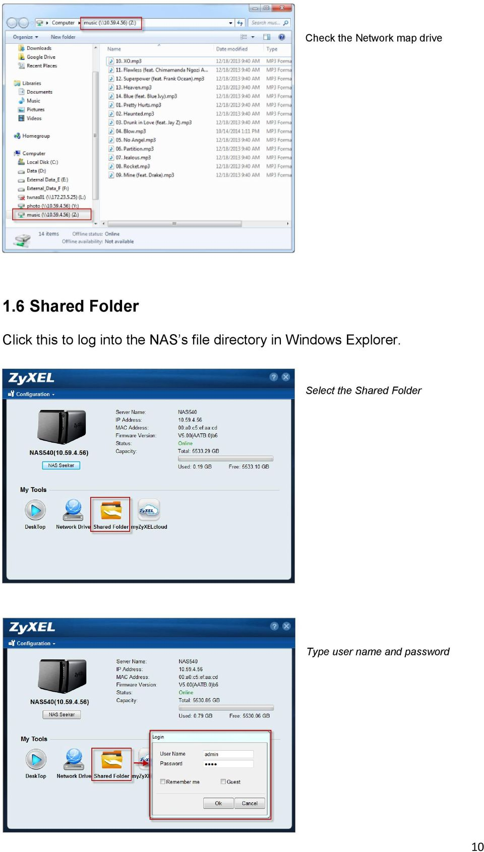 NAS s file directory in Windows Explorer.