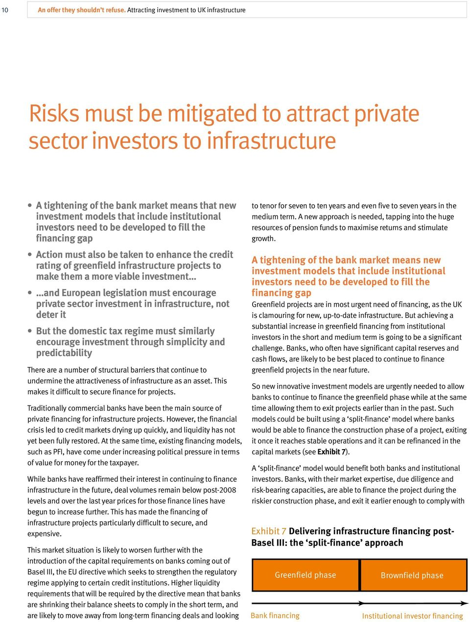 institutional investors need to be developed to fill the financing gap Action must also be taken to enhance the credit rating of greenfield infrastructure projects to make them a more viable