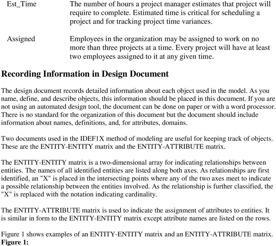 Recording Information in Design Document The design document records detailed information about each object used in the model.