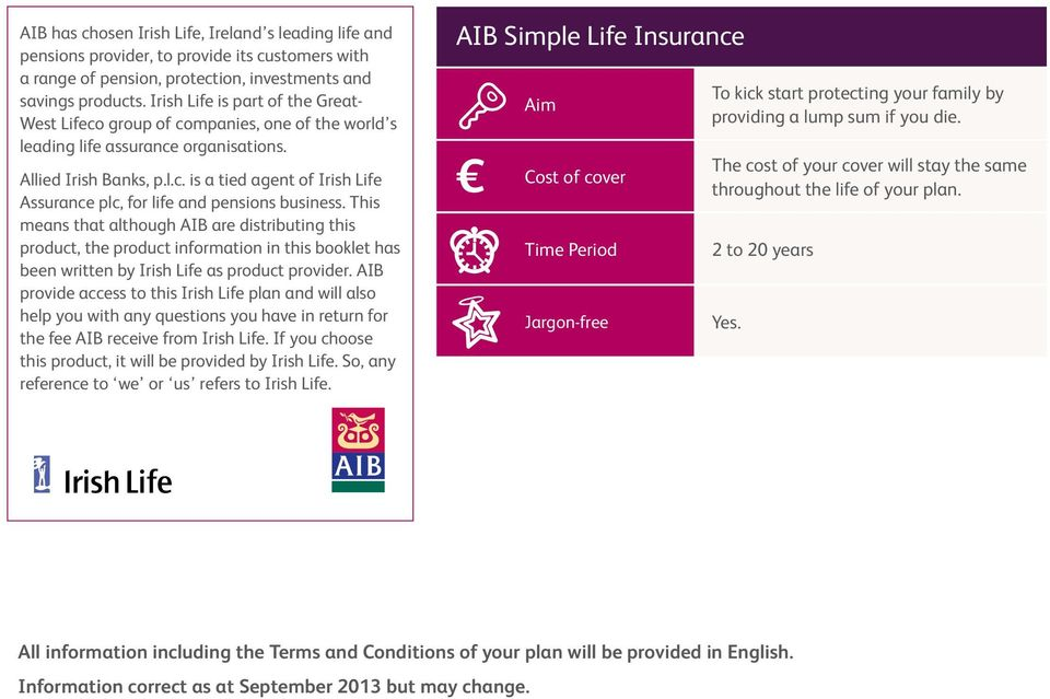 This means that although AIB are distributing this product, the product information in this booklet has been written by Irish Life as product provider.