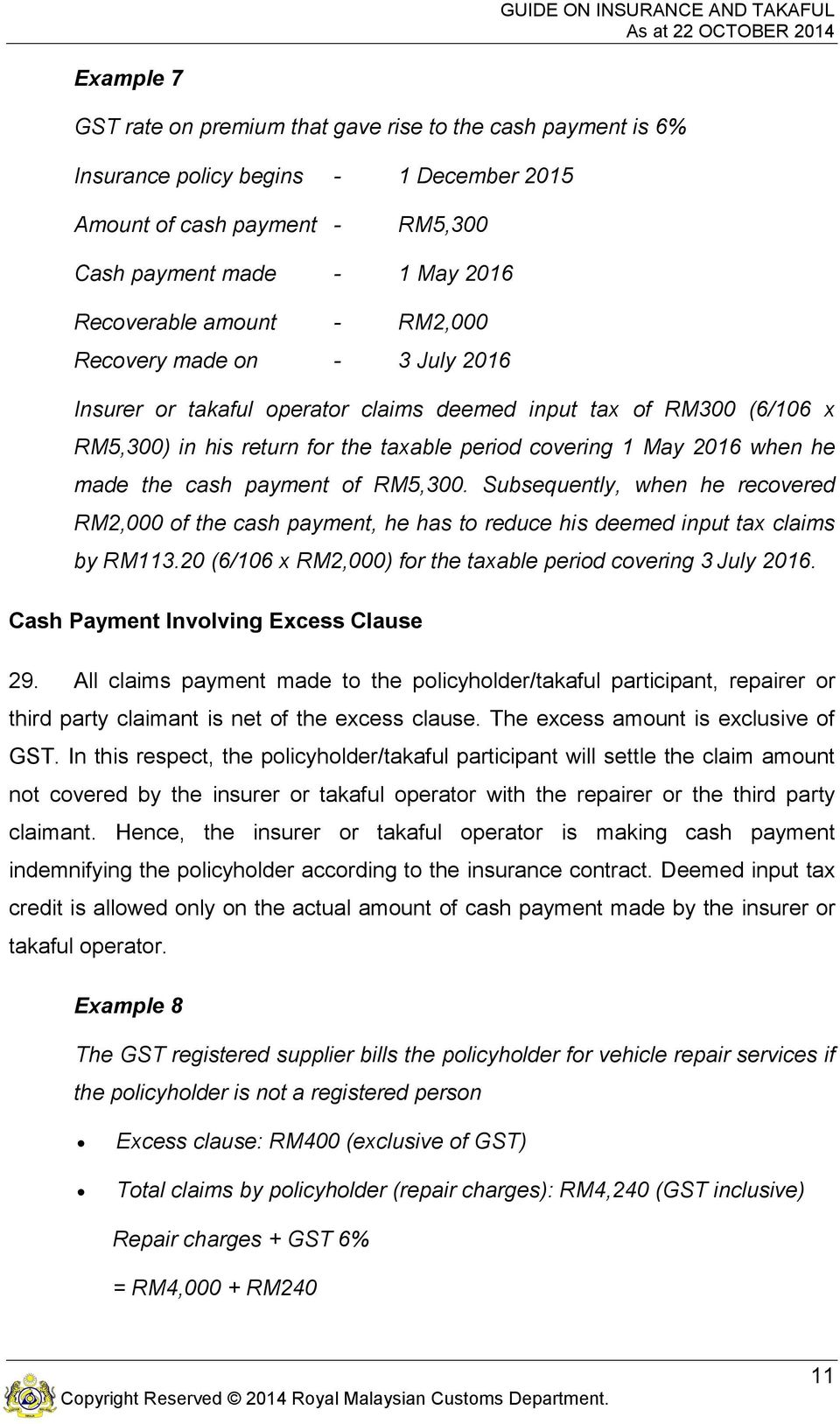 payment of RM5,300. Subsequently, when he recovered RM2,000 of the cash payment, he has to reduce his deemed input tax claims by RM113.20 (6/106 x RM2,000) for the taxable period covering 3 July 2016.
