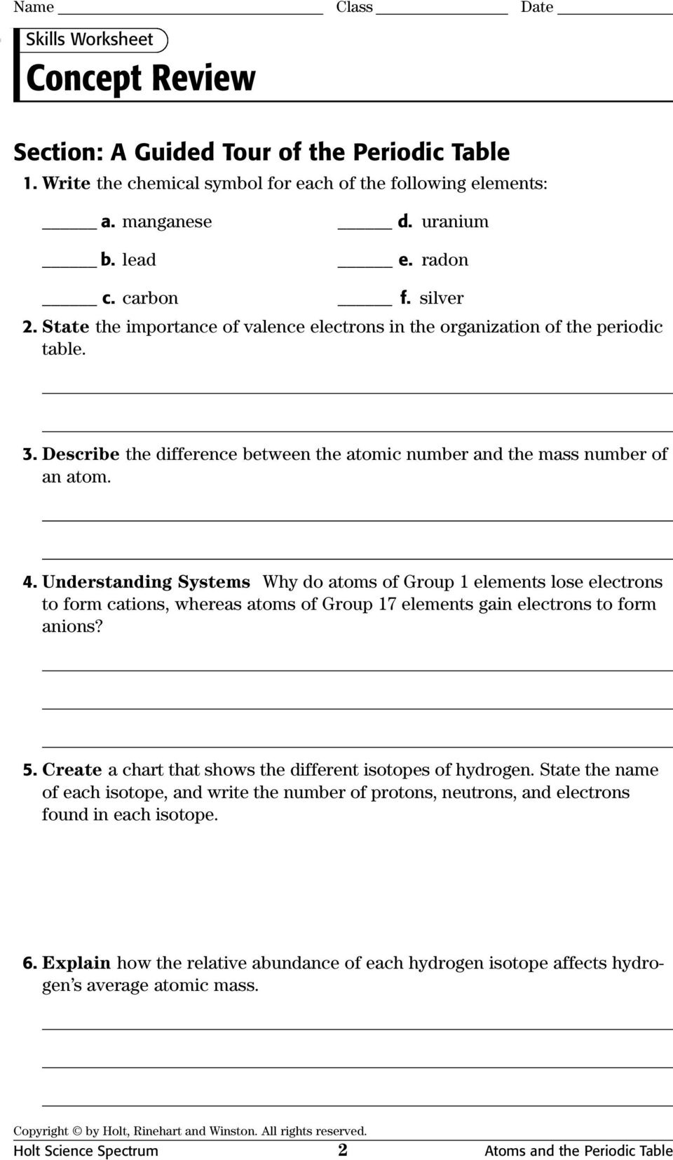 Printables Chemistry Review Worksheet chemistry worksheet isotope notation newton south high school physical science concept review worksheets with answer keys