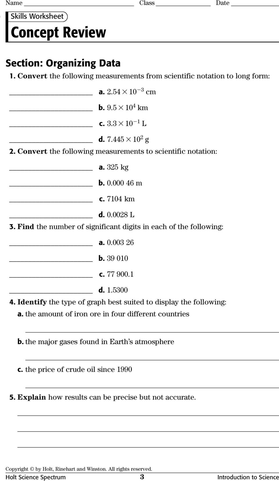 Worksheets Holt Science Spectrum Worksheets physical science concept review worksheets with answer keys pdf holt spectrum 3 introduction to find the number of significant digits in each following a 0 003 26