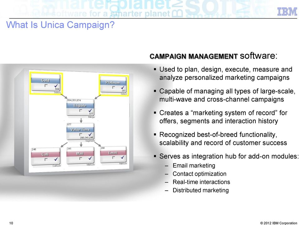 managing all types of large-scale, multi-wave and cross-channel campaigns Creates a marketing system of record for offers,