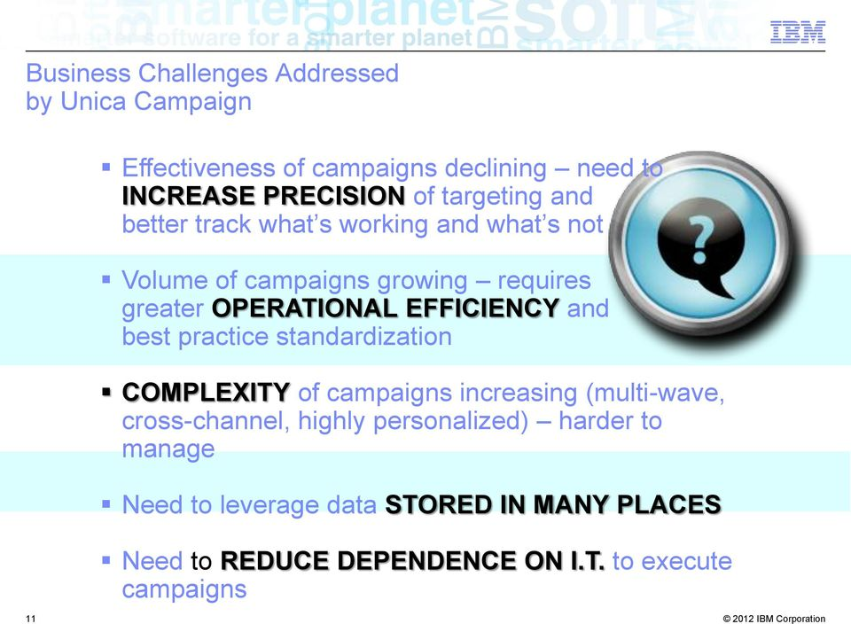 EFFICIENCY and best practice standardization COMPLEXITY of campaigns increasing (multi-wave, cross-channel, highly