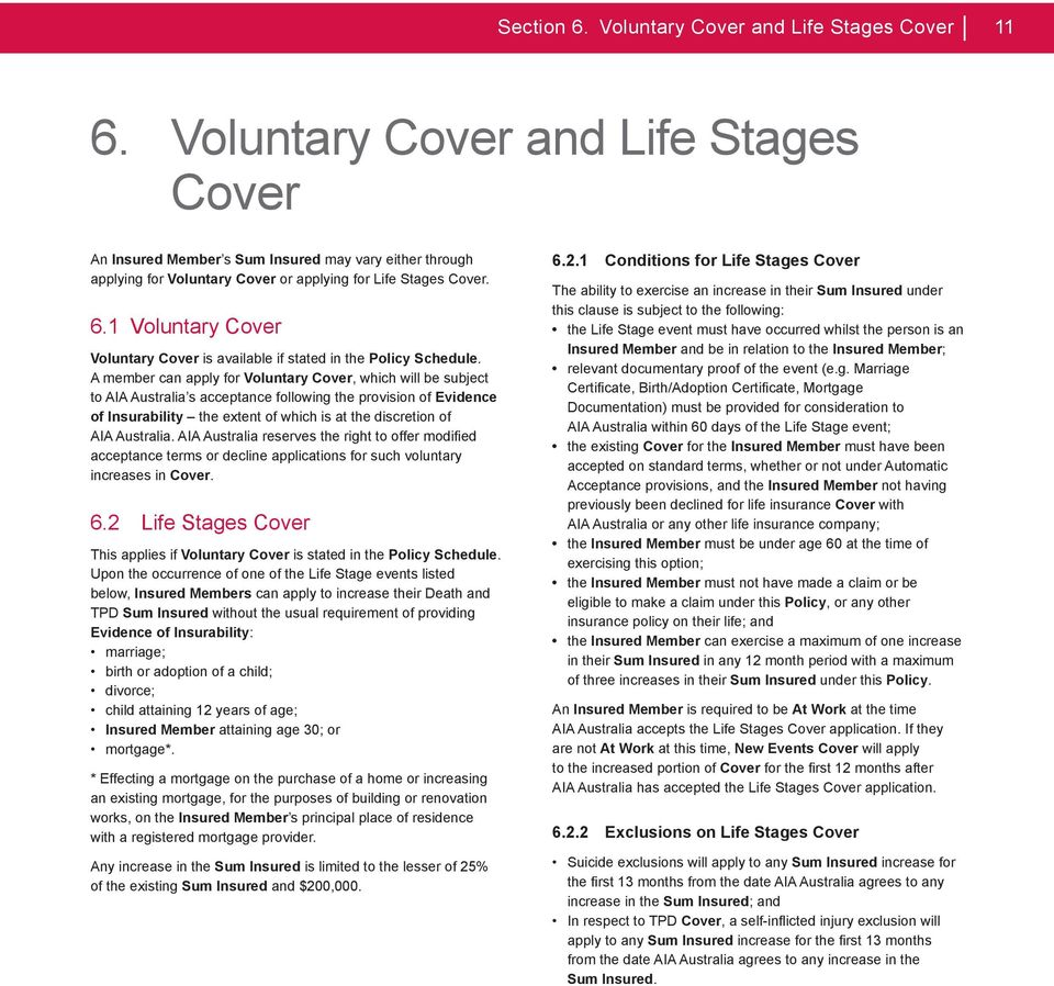 1 Voluntary Cover Voluntary Cover is available if stated in the Policy Schedule.
