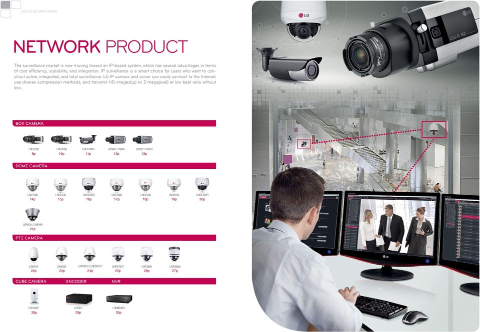 LG IP camera and server can easily connect to the Internet, use diverse compression methods, and transmit HD images(up to 3 megapixel) at low beat ratio without loss.
