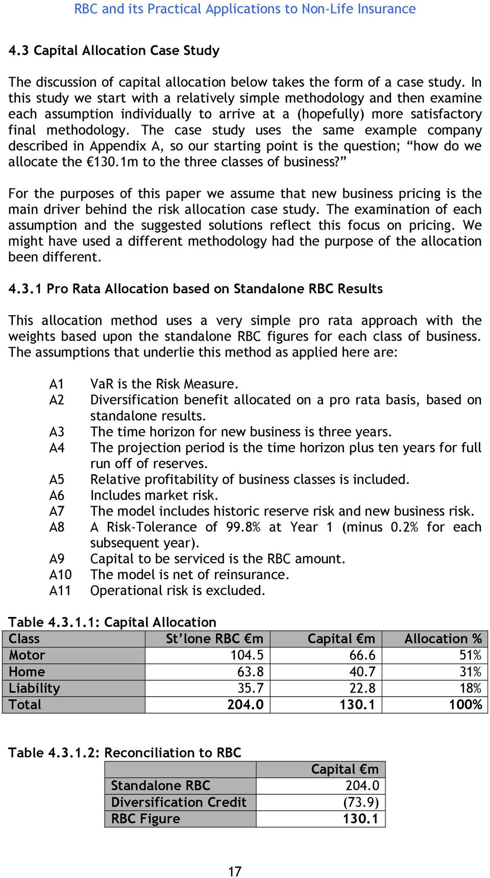 The case study uses the same example company described in Appendix A, so our starting point is the question; how do we allocate the 130.1m to the three classes of business?