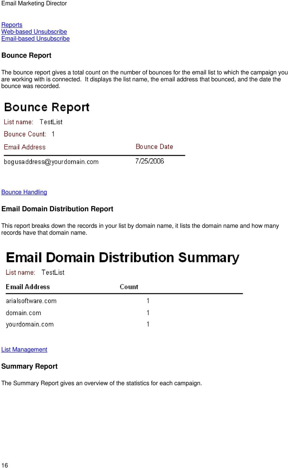 It displays the list name, the email address that bounced, and the date the bounce was recorded.